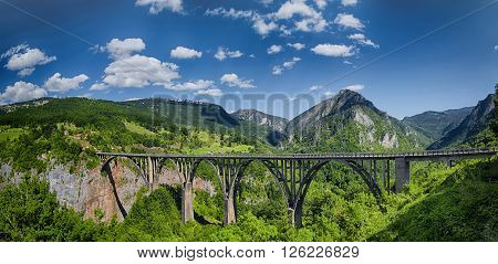 Arch bridge over the Tara River in northern Montenegro.