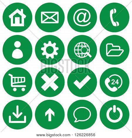 Set of 16 basic flat icons on green round background
