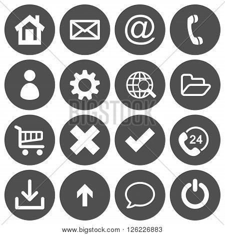 Set of 16 basic flat icons on gray round background