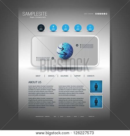 One Page Website Design Template for Your Business with Header Design Concept