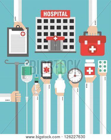 Hospital flat design card with hand .Vector illustration