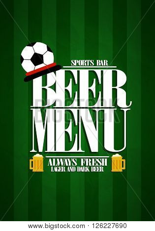 Beer Menu design card for sports bar.Vector illustration