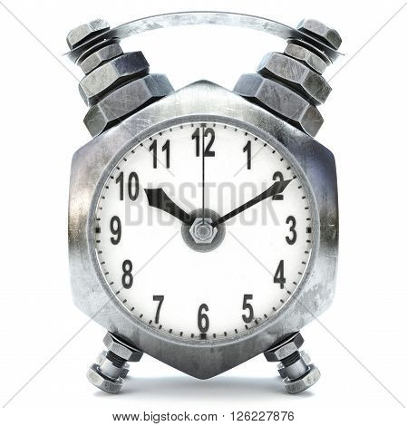 alarm clock made of the nuts and bolts. isolated on white.  3D illustration.
