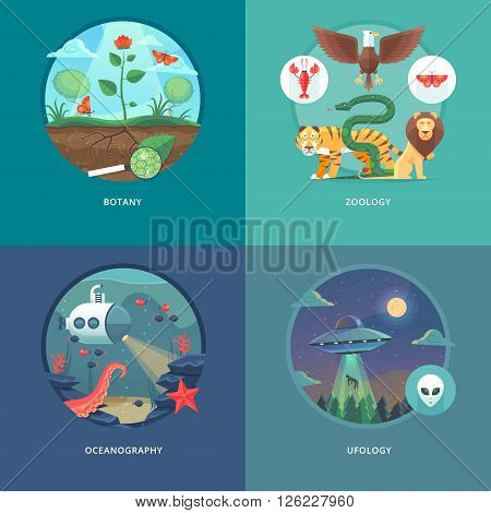 Education and science concept illustrations. Botany, zoology, oceanography and ufology . Science of life and origin of species. Flat vector design banner.