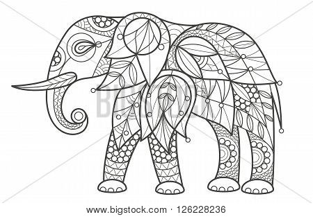 Vector illustration decorative elephant on white background. Fashion trend of adult coloration. Elephant vector with elements oriental motif. Black and white African elephant. Modern vector design.