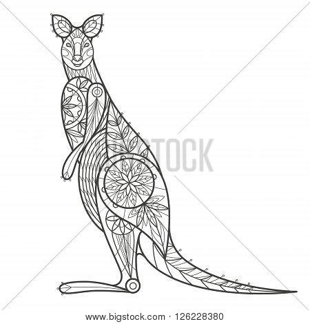 Vector illustration decorative kangaroo on white background. Fashion trend of adult coloration. Kangaroo vector with elements oriental motif. Black and white Australian kangaroo. Modern vector design.
