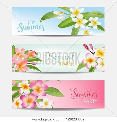 Tropical Banner Set. Tropical Flowers. Card with Text. Vector Realistic