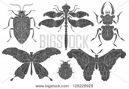 A set of vector elements linear design. Illustration isolated black decorative insects on white background. Insects beetles butterflies dragonflies. Template for print on T-shirts gifts packaging.