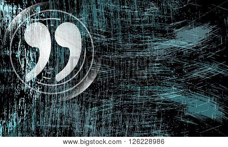 Vector abstract scratched background and quotation mark