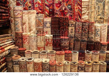 Stack of Carpets in Istanbul City Turkey