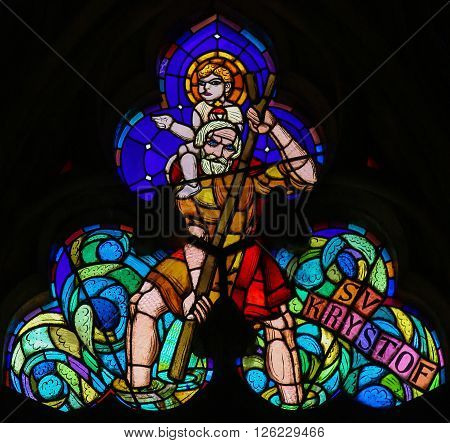 Stained Glass - St Christopher Carrying The Christ Child