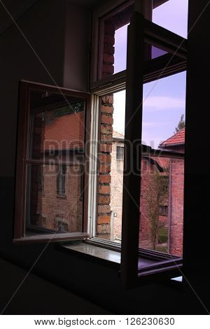 Oswiecim, Poland - May 09, 2015: View Through Window In Former Nazi Concentration Camp Auschwitz I,