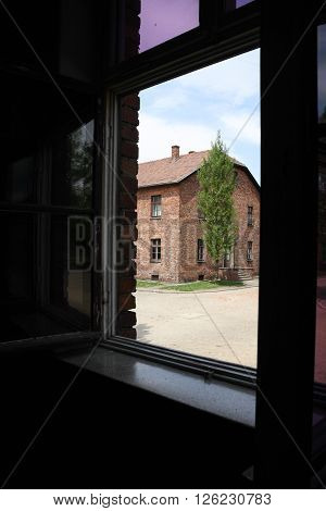 Oswiecim, Poland - May 09, 2015: View From Window In Former Nazi Concentration Camp Auschwitz I, Pol