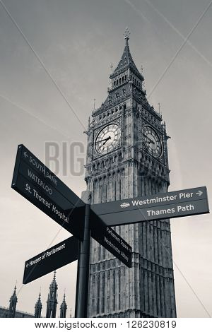 Big Ben and road sign in Westminster in London