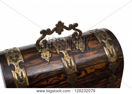 Lid Handle Of A Vintage Wooden Jewelry Box