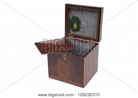 A Small Opened Antique Wooden Tea Caddy