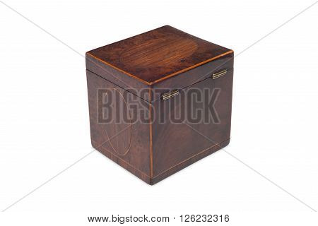 Rear Of A Small Antique Wooden Tea Caddy