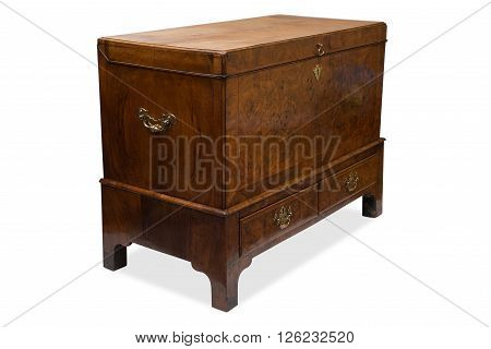 An Antique Wooden Trunk Or Chest With Drawers