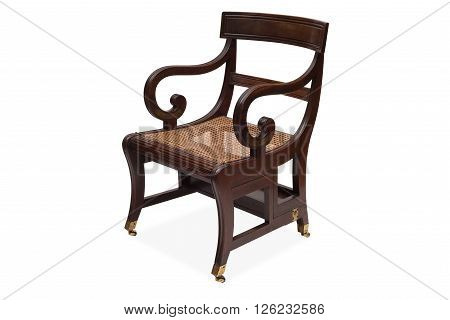 An Antique Wooden Armchair With Rattan Wicker Seat