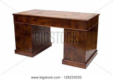 Rear View Of An Antique Wooden Office Table