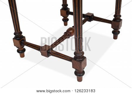 Legs And Stretchers Of An Antique Wooden Table