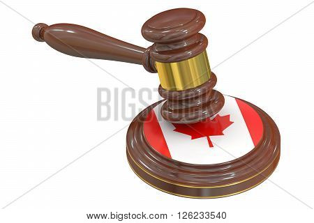 Wooden Gavel with Flag of Canada 3D rendering