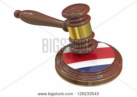 Wooden Gavel with Flag of Costa Rica 3D rendering