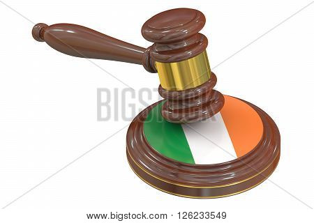 Wooden Gavel with Flag of Ireland 3D rendering