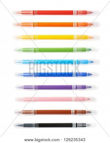 Felt-tip pen marker isolated over the white background, set of ten different colors