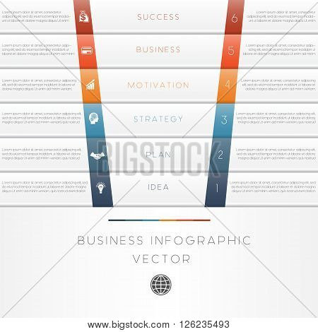 Vector illustration template of business infographic numbered six position