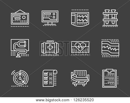 Healthcare industry. Hospital and clinic, medical equipment. Cardiology theme. Set of white simple line vector icons on black background. Web design elements for site, business, mobile app.