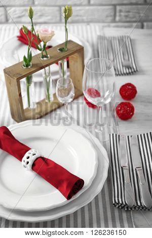 Beautiful table setting, close up