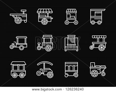 Street fast food stalls, trolleys and carts. City outdoors trade objects. Shop on wheels. Set of white simple line vector icons on black background. Web design elements for site, business, mobile app.