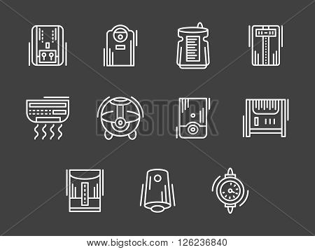 Appliances and equipment for regulation of house climate. Air conditioners, heating, purification. Set of white simple line vector icons on black. Web design elements for site, business, mobile app.