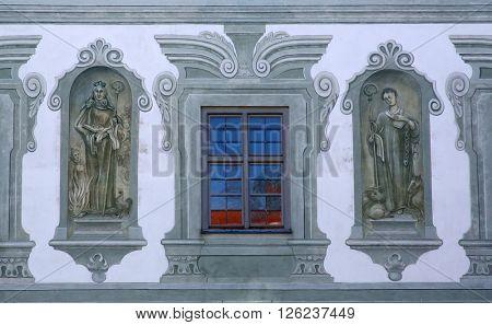 BENEDIKTBEUERN, GERMANY - OCTOBER 19: Saints, fresco in the famous Benediktbeuern abbey, Germany on October 19, 2014.