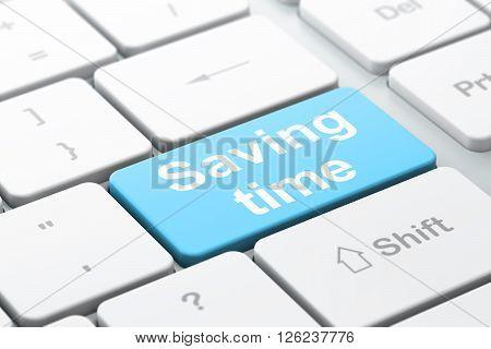 Timeline concept: Saving Time on computer keyboard background