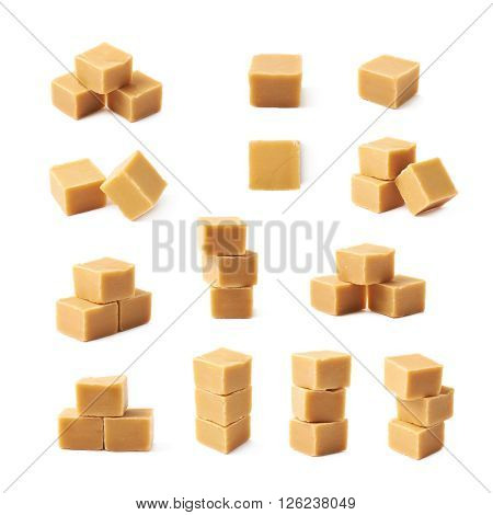 Almond butter toffee cube isolated over the white background, set of multiple different foreshortenings