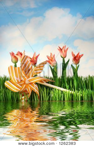 Tulips And Pinwheel