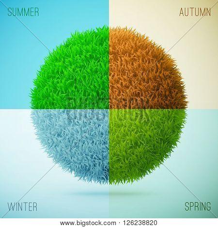 Four Seasons Collage. Spring, Summer, Autumn, Winter. Grass Circle Shape.