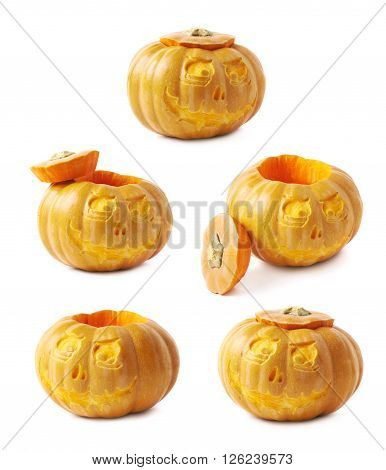 Scary Jack-O-Lantern pumpkin isolated over the white background, set of five different foreshortenings