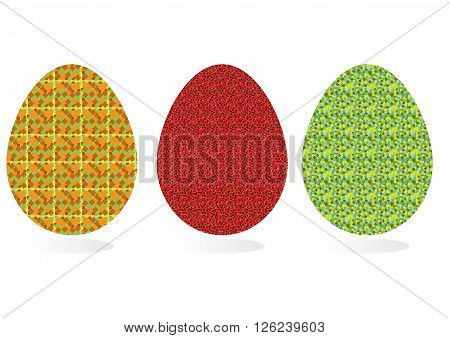Set of three Easter eggs with unusual patterns and shadows. Red yellow green black.