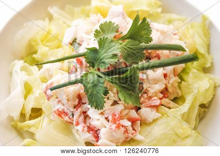 Seafood Salad Topped with Scallion and Parsley