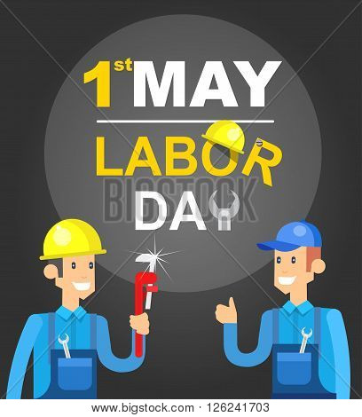 Labor day card design. Labor day vector illustration with character of the worker and  construction tools. Labor day typography