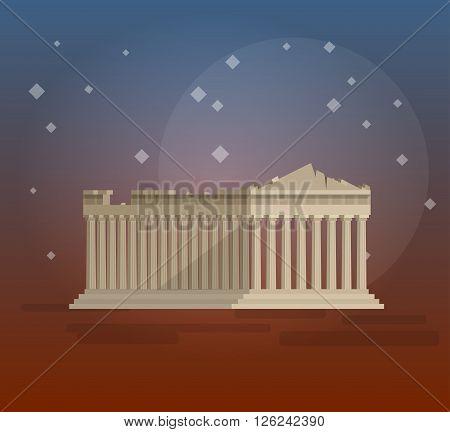 High quality, detailed most famous World landmark. Flat design of parthenon greek illustration vector. Travel vector. Travel illustration. Travel landmarks. Happy travel