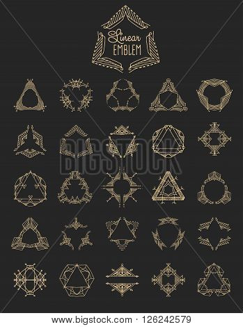 Set of elegant linear monogram design. Vector  linear frame illustration. Trendy linear monogram and linear frame