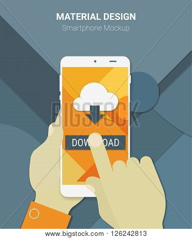 Material design hands holding mobile device with downloading app, on trendy material background