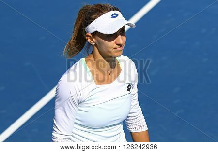 KYIV UKRAINE - APRIL 17 2016: Close-up portrait of Lesia Tsurenko of Ukraine during BNP Paribas FedCup World Group II Play-off game against Maria Irigoyen of Argentina at Campa Bucha Tennis Club