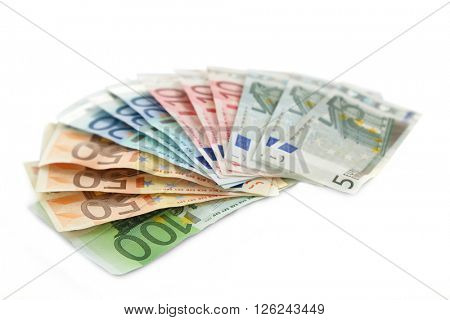 Fan of different euro banknotes, isolated on white