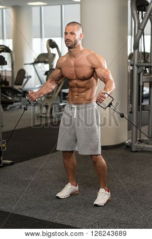 Young Bodybuilder Exercising Chest On Machine
