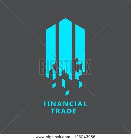 Business Icon - Vector logo concept for financial trade. Abstract emblem for finance strategy, return on investing, money circulation process, securities trading
